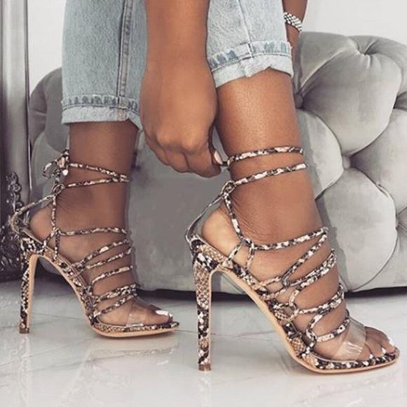 Shoes - Strappy Pumps super high heels Snake ladies pump